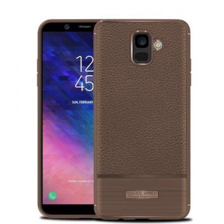 Samsung Galaxy A6 (2018) Szilikon Tok Prémium Szálcsiszolt-Bőrmintázattal Barna