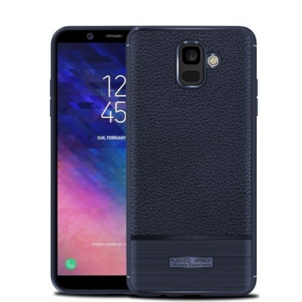 Samsung Galaxy A6 (2018) Szilikon Tok Prémium Szálcsiszolt-Bőrmintázattal Sötétkék