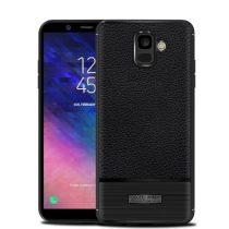 Samsung Galaxy A6 (2018) Szilikon Tok Prémium Szálcsiszolt-Bőrmintázattal Fekete