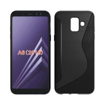 Samsung Galaxy A6 (2018) TPU Szilikon Tok S-Line Design Karbon Mintázattal Fekete