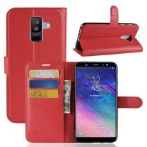 Samsung Galaxy A6+ (2018) Tok Notesz Business Bankkártyatartóval Kitámasztható Piros