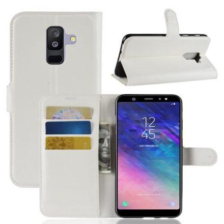 Samsung Galaxy A6+ (2018) Tok Notesz Business Bankkártyatartóval Kitámasztható Fehér