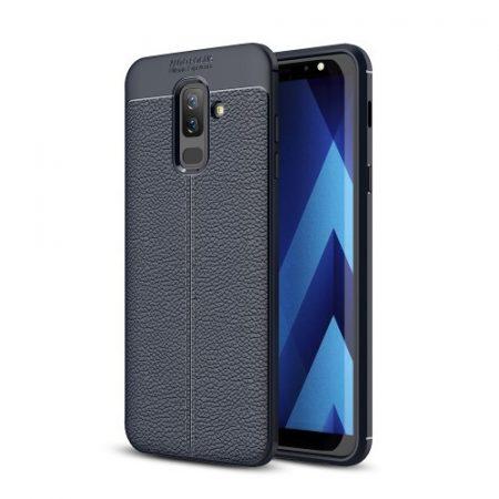 Samsung Galaxy A6+ (2018) Szilikon Tok Bőrmintázattal TPU Prémium Sötétkék