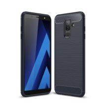 Samsung Galaxy A6+ (2018) Szilikon Tok Ütésállókivitel Karbon Mintázattal Sötétkék