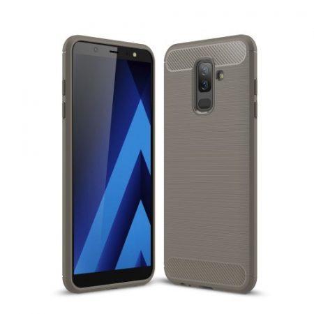 Samsung Galaxy A6+ (2018) Szilikon Tok Ütésállókivitel Karbon Mintázattal Szürke