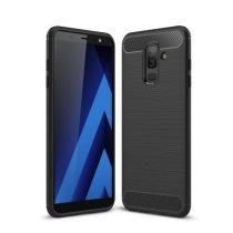 Samsung Galaxy A6+ (2018) Szilikon Tok Ütésállókivitel Karbon Mintázattal Fekete