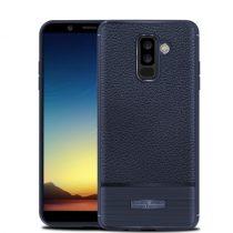 Samsung Galaxy A6+ (2018) Szilikon Tok Prémium Szálcsiszolt-Bőrmintázattal Sötétkék