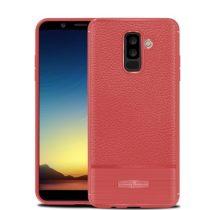 Samsung Galaxy A6+ (2018) Szilikon Tok Prémium Szálcsiszolt-Bőrmintázattal Piros