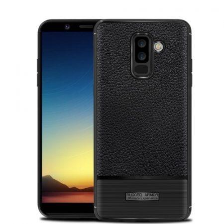 Samsung Galaxy A6+ (2018) Szilikon Tok Prémium Szálcsiszolt-Bőrmintázattal Fekete