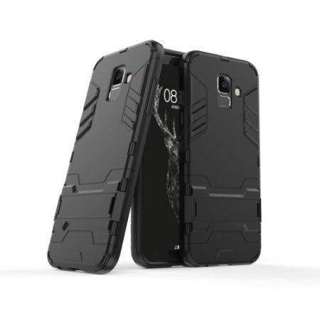 Samsung Galaxy A6+ (2018) 2in1 Tok Ütésálló - Kitámasztható TPU Hybrid Fekete