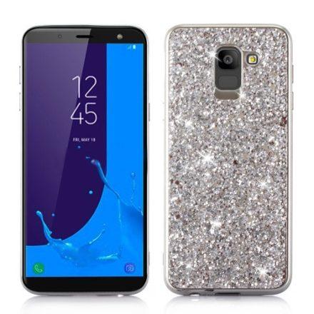 Samsung Galaxy J6 (2018) TPU Csillámló Szilikon Tok Glitteres Fényes Ezüst