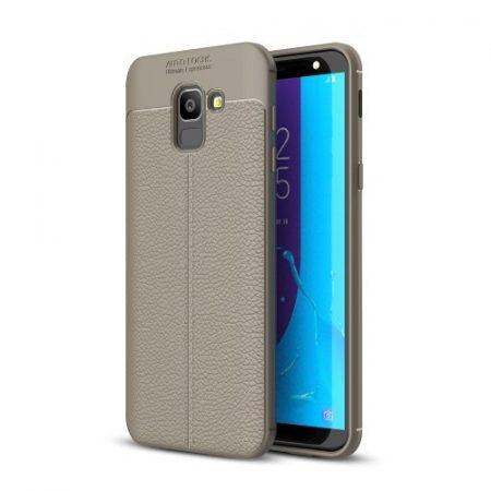 Samsung Galaxy J6 (2018) Szilikon Tok Bőrmintázattal TPU Prémium Szürke