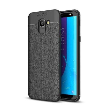 Samsung Galaxy J6 (2018) Szilikon Tok Bőrmintázattal TPU Prémium Fekete
