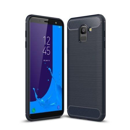 Samsung Galaxy J6 (2018) Szilikon Tok Ütésállókivitel Karbon Mintázattal Sötétkék