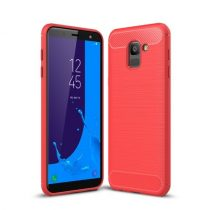 Samsung Galaxy J6 (2018) Szilikon Tok Ütésállókivitel Karbon Mintázattal Piros