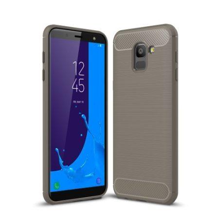 Samsung Galaxy J6 (2018) Szilikon Tok Ütésállókivitel Karbon Mintázattal Szürke