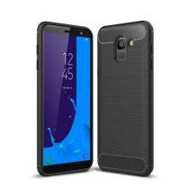Samsung Galaxy J6 (2018) Szilikon Tok Ütésállókivitel Karbon Mintázattal Fekete