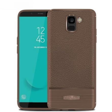 Samsung Galaxy J6 (2018) Szilikon Tok Prémium Szálcsiszolt-Bőrmintázattal Barna