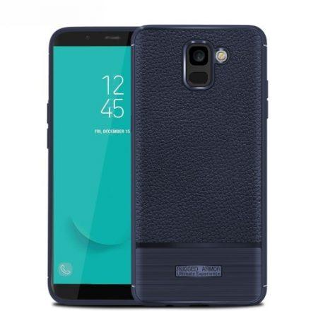 Samsung Galaxy J6 (2018) Szilikon Tok Prémium Szálcsiszolt-Bőrmintázattal Sötétkék