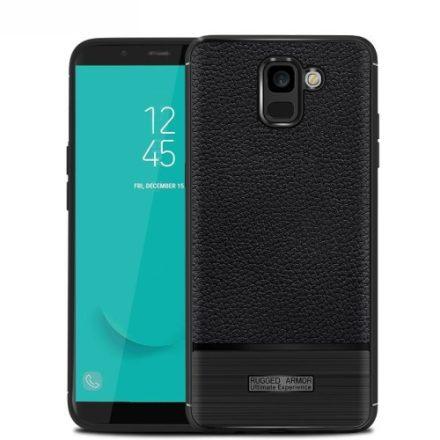 Samsung Galaxy J6 (2018) Szilikon Tok Prémium Szálcsiszolt-Bőrmintázattal Fekete