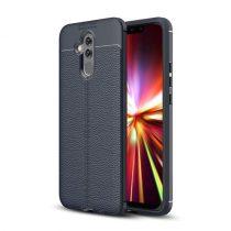 Huawei Mate 20 Lite Szilikon Tok Bőrmintázattal Sötétkék