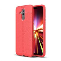 Huawei Mate 20 Lite Szilikon Tok Bőrmintázattal Piros