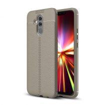 Huawei Mate 20 Lite Szilikon Tok Bőrmintázattal Szürke
