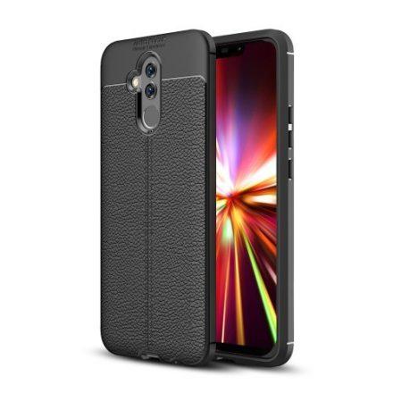 Huawei Mate 20 Lite Szilikon Tok Bőrmintázattal Fekete