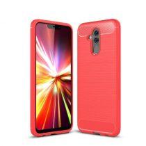 Huawei Mate 20 Lite Tok Szilikon Ütésállókivitel Karbon Mintázattal Piros