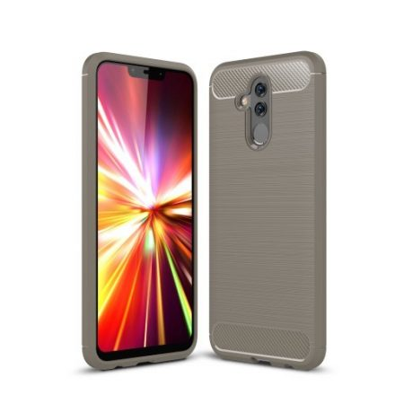 Huawei Mate 20 Lite Tok Szilikon Ütésállókivitel Karbon Mintázattal Szürke