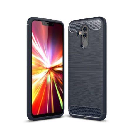 Huawei Mate 20 Lite Tok Szilikon Ütésállókivitel Karbon Mintázattal Sötétkék