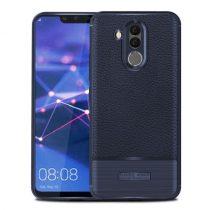 Huawei Mate 20 Lite Tok Bőr - Szálcsiszolt Mintázattal Sötétkék