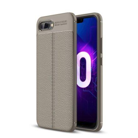 Huawei Honor 10 Szilikon Tok Bőrmintázattal Szürke
