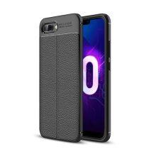 Huawei Honor 10 Szilikon Tok Bőrmintázattal Fekete