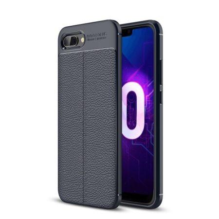 Huawei Honor 10 Szilikon Tok Bőrmintázattal Sötétkék