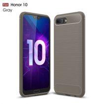 Huawei Honor 10 Tok Szilikon Ütésállókivitel Karbon Mintázattal Szürke