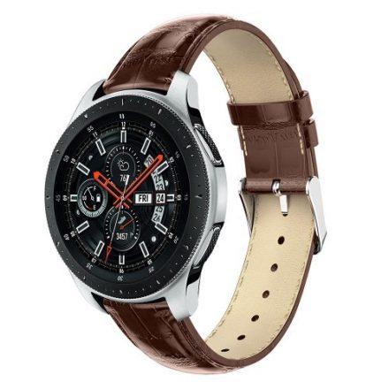 Samsung Galaxy Watch 46mm Pótszíj - Óraszíj Krokodil Bőrmintás Barna