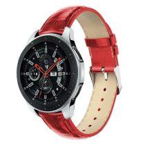 Samsung Galaxy Watch 46mm Pótszíj - Óraszíj Krokodil Bőrmintás Piros