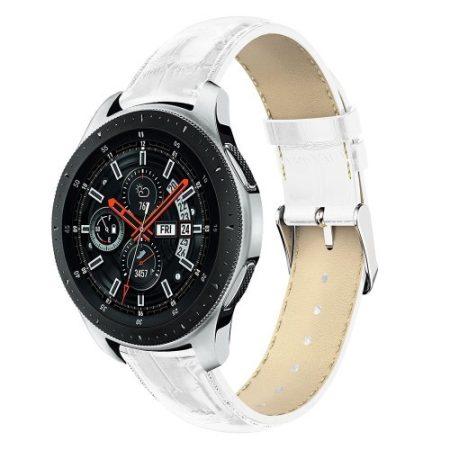 Samsung Galaxy Watch 46mm Pótszíj - Óraszíj Krokodil Bőrmintás Fehér