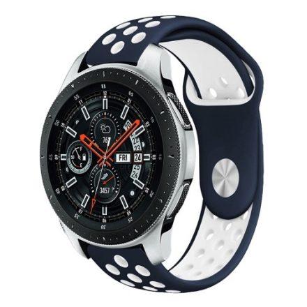 Samsung Galaxy Watch 46mm Óraszíj - Pótszíj Szilikon Hollow Style Lyukacsos Kék/Fehér
