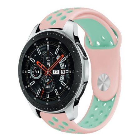 Samsung Galaxy Watch 46mm Óraszíj - Pótszíj Szilikon Hollow Style Lyukacsos Rózsaszín/Cián
