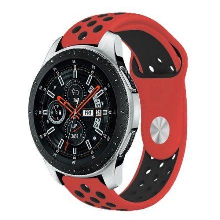 Samsung Galaxy Watch 46mm Óraszíj - Pótszíj Szilikon Hollow Style Lyukacsos Piros/Fekete