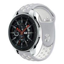 Samsung Galaxy Watch 46mm Óraszíj - Pótszíj Szilikon Hollow Style Lyukacsos Szürke/Fehér