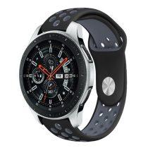 Samsung Galaxy Watch 46mm Óraszíj - Pótszíj Szilikon Hollow Style Lyukacsos Fekete/SötétSzürke