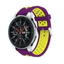 Pótszíj - Szilikon Óraszíj Samsung Galaxy Watch 46mm TwoTone Series Violet/Sárga