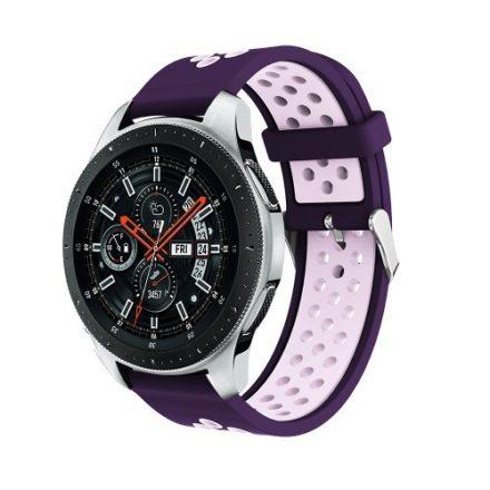 Pótszíj - Szilikon Óraszíj Samsung Galaxy Watch 46mm TwoTone Series SötétLila/VilágosLila