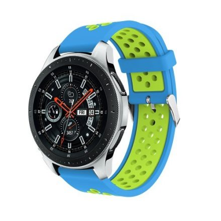 Pótszíj - Szilikon Óraszíj Samsung Galaxy Watch 46mm TwoTone Series Kék/Zöld