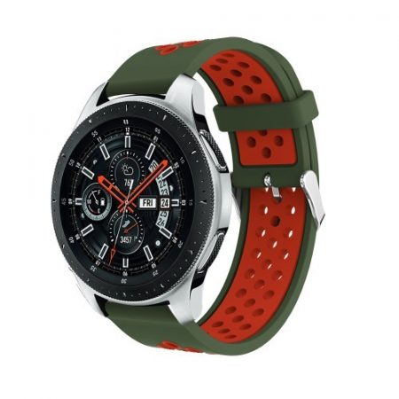 Pótszíj - Szilikon Óraszíj Samsung Galaxy Watch 46mm TwoTone Series KatonZöld/Piros