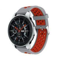 Pótszíj - Szilikon Óraszíj Samsung Galaxy Watch 46mm TwoTone Series Szürke/Piros