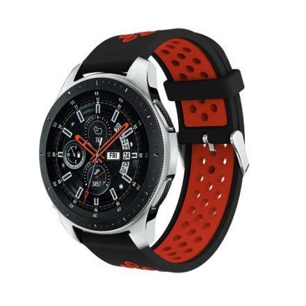 Pótszíj - Szilikon Óraszíj Samsung Galaxy Watch 46mm TwoTone Series Fekete/Piros